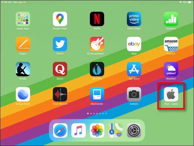 iPad mit Webverknüpfung auf dem Startbildschirm