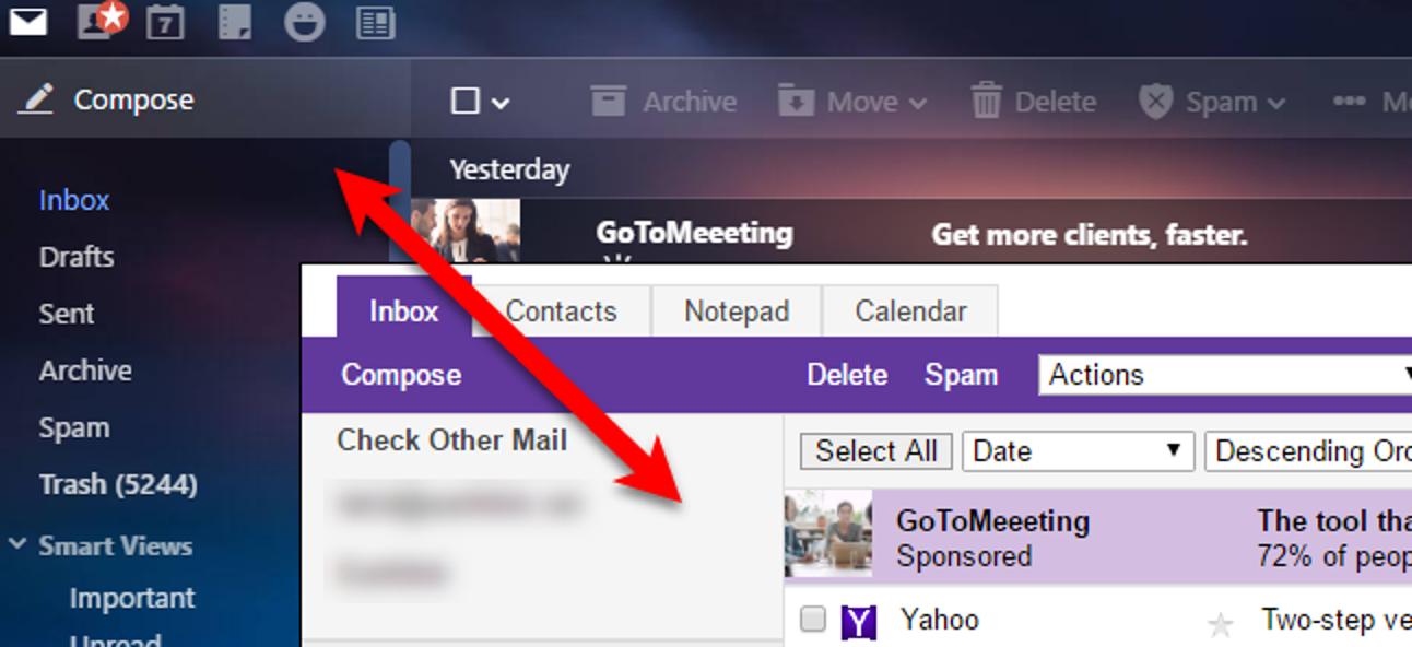 So wechseln Sie zwischen der Vollversion und der Basisversion von Yahoo Mail