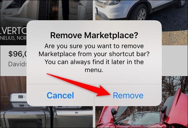 Apple iPhone Facebook App Wählen Sie die Schaltfläche Entfernen