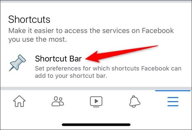 Apple iPhone Facebook App Wählen Sie die Option Shortcut Bar