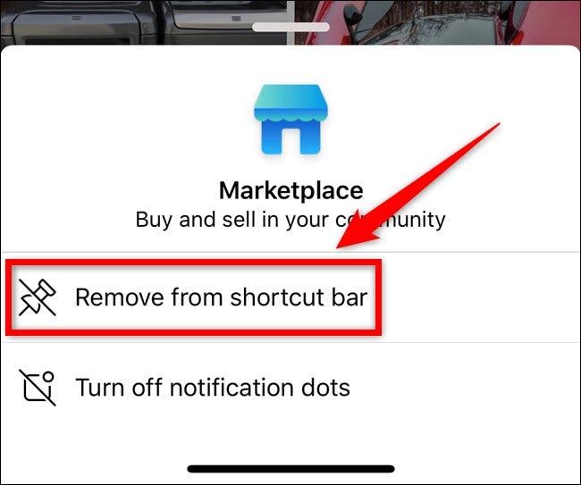 Apple iPhone Facebook App Wählen Sie Aus Verknüpfungsleiste entfernen