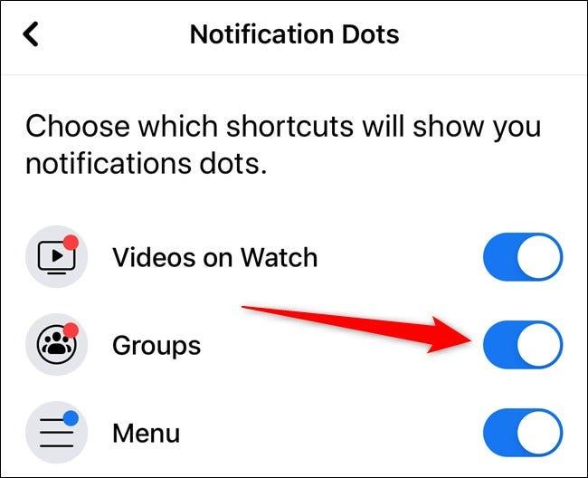 Apple iPhone Facebook App Benachrichtigungspunkte pro Artikel umschalten