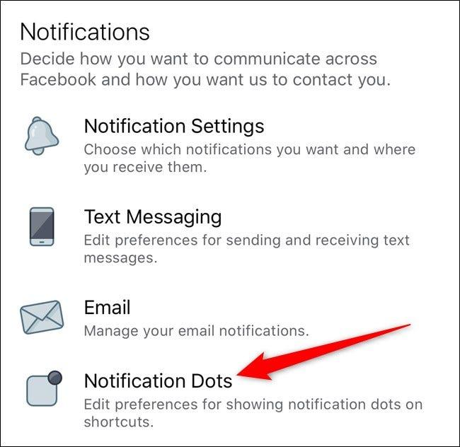 Apple iPhone Facebook App Benachrichtigungspunkte auswählen
