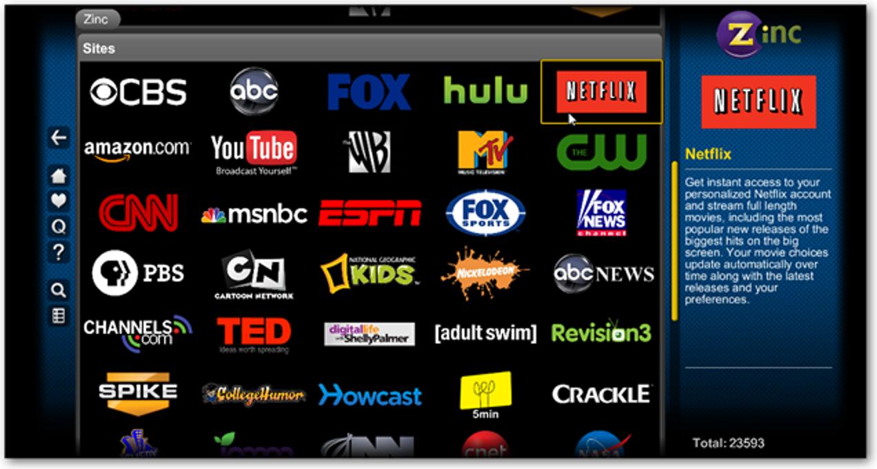 Sehen Sie sich Netflix Instant Streaming-Inhalte über Zinc TV an