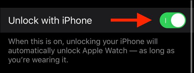 Tippen Sie auf den Schalter neben Mit iPhone entsperren