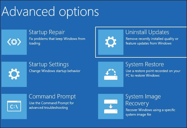 """Auswählen """"Updates deinstallieren"""" unter Erweiterte Optionen"""
