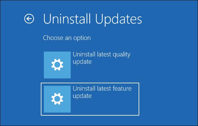"""Auswählen """"Deinstallieren Sie das neueste Feature-Update"""" auf dem Bildschirm Updates deinstallieren"""
