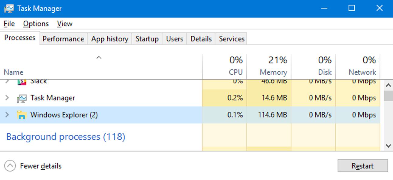 So starten Sie die Explorer.exe von Windows neu (zusammen mit der Taskleiste und dem Startmenü)