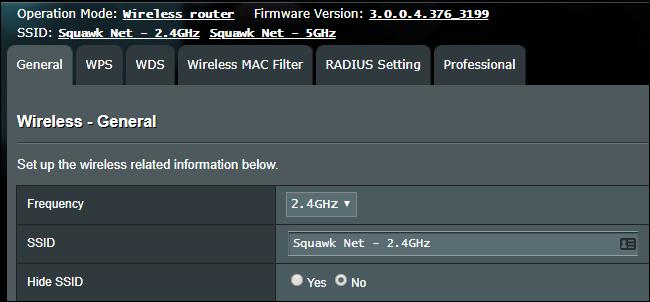 Wi-Fi-SSID-Einstellungen auf einem WLAN-Router