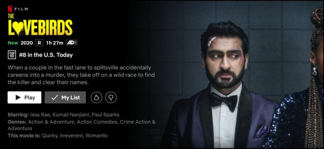 """""""Die Lovebirds"""" Seite auf Netflix."""