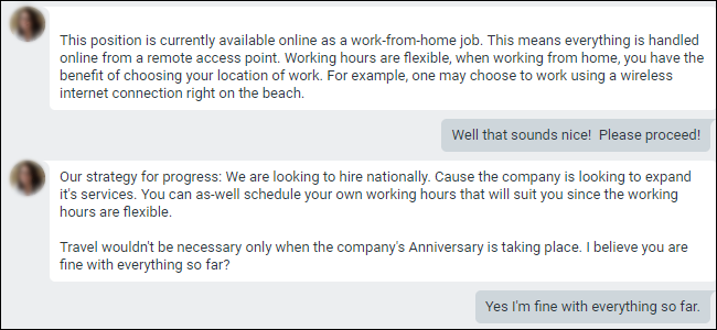 Google Hangouts-Konversation mit einem Jobangebot von zu Hause aus.