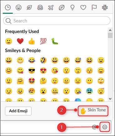 """Das Emoji-Panel mit dem """"Hautfarbe"""" Option hervorgehoben"""