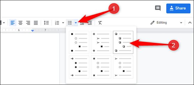 Klicken Sie auf den Abwärtspfeil neben dem Symbol für die Aufzählungsliste und aktivieren Sie das Kontrollkästchen.