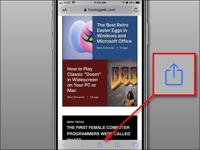 Tape Share-Schaltfläche in Safari auf dem iPhone