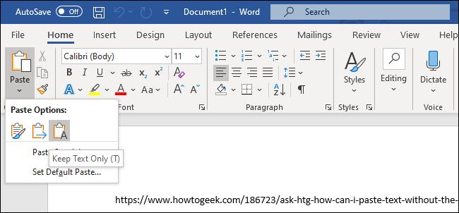 """Das """"Nur Text behalten"""" Option zum Einfügen von Text in Microsoft Word."""