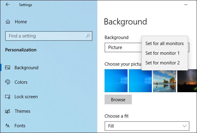 Festlegen verschiedener Hintergrundbilder für verschiedene Monitore unter Windows 10.