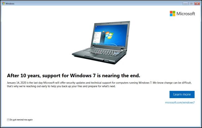 Windows 7-Benachrichtigung zum Lebensende