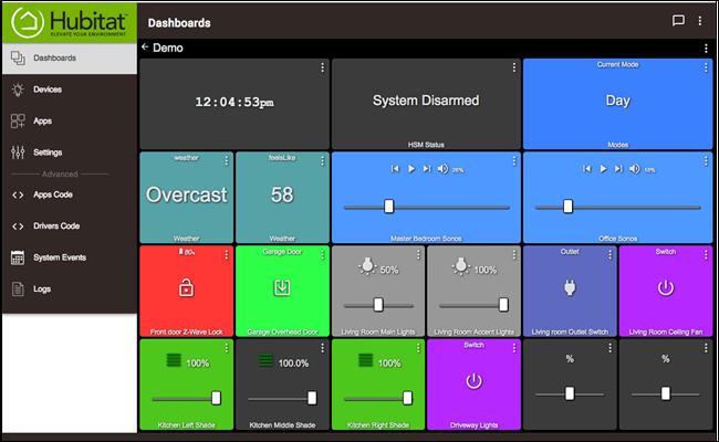 Hubitat Dashboard-Seite mit mehreren Smarthome-Optionen