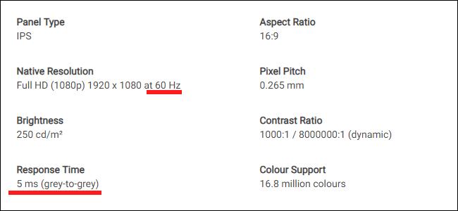 Das Datenblatt für einen Dell-Monitor.  Beachten Sie den Unterschied zwischen Aktualisierungsrate und Antwortzeit.