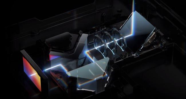 Eine Illustration der Innenteile des Periskopobjektivs auf einem Huawei P40 Pro + Smartphone.