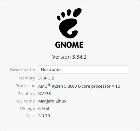 """Die GNOME-Einstellungen """"Über"""" Registerkarte für einen physischen Host."""
