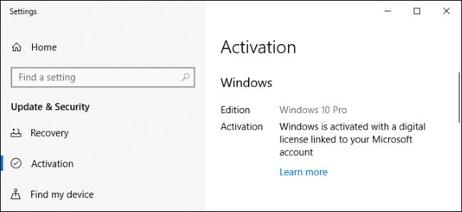 Der Einstellungsbildschirm von Windows 10 zeigt an, dass er mit einer digitalen Lizenz aktiviert wurde.