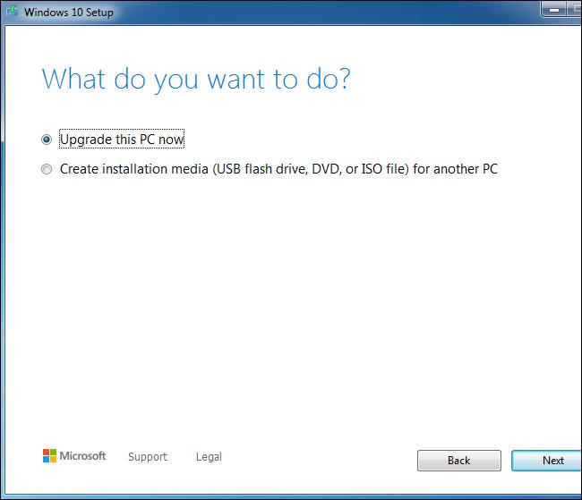 Verwenden des Windows 10-Setup-Tools zum Aktualisieren eines Windows 7-Systems.