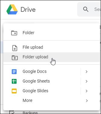 Upload-Optionen für Google Drive-Webdateien oder -Ordner