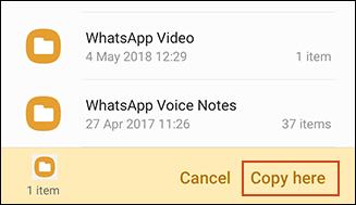 Kopierbestätigung in der Samsung My Files App