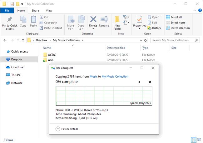 Datei-Uploads in Dropbox im Windows-Dateimanager