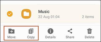 Option zum Kopieren oder Verschieben von Dateien von USB mit Samsung My Files