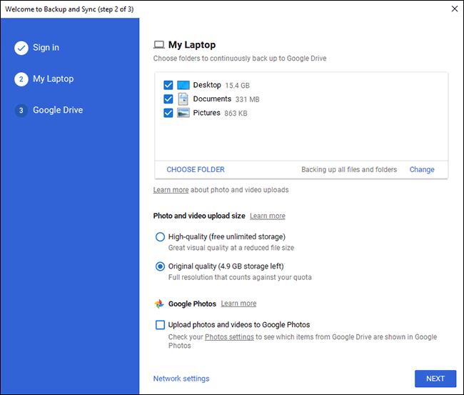 Google Drive Backup-PC Wählen Sie den Ordnerbildschirm