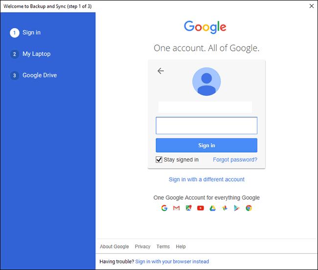 Google Drive PC-Anmeldebildschirm