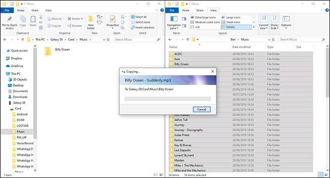 Dateien, die im Datei-Explorer von Windows auf ein Android-Gerät übertragen werden