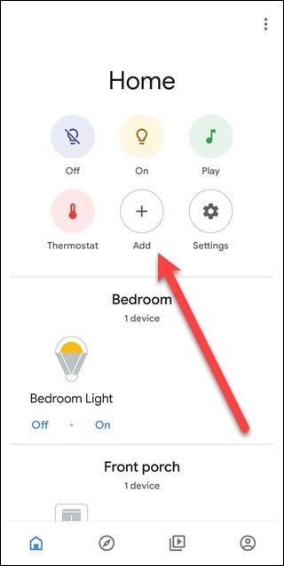 Google Assistant-App mit Pfeil in Richtung Hinzufügen-Schaltfläche