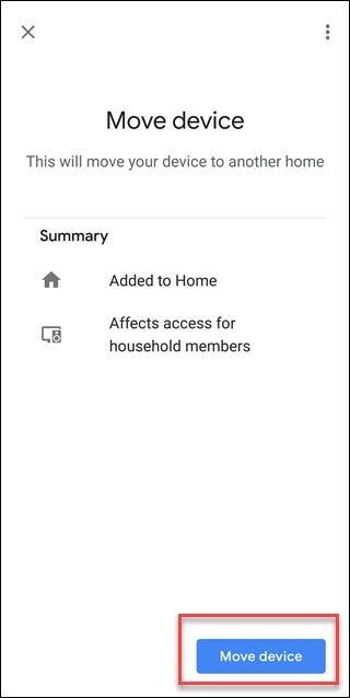 Google-Assistentenbildschirm mit Feld um Geräteoption verschieben