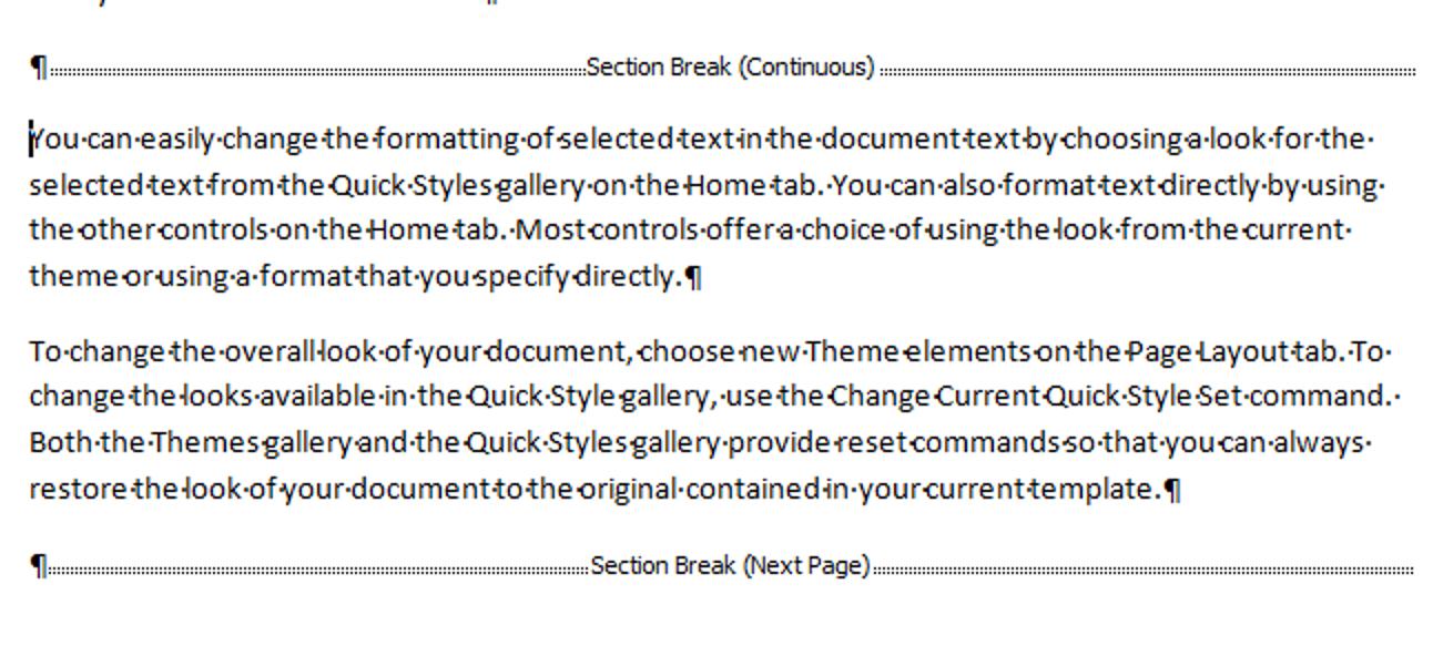 Ändern Sie den Typ für einen Abschnittswechsel in Word 2007 und 2010