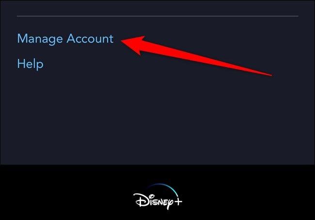 Disney + Tippen Sie auf Konto verwalten
