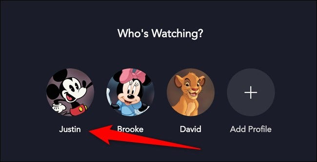 Disney + Wählen Sie Ihr Profil