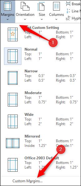 Wählen Sie die Option Benutzerdefinierte Ränder