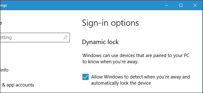 Windows 10 Dynamic Lock-Anmeldebildschirm.