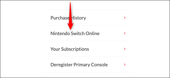 Nintendo Switch Online-Seite