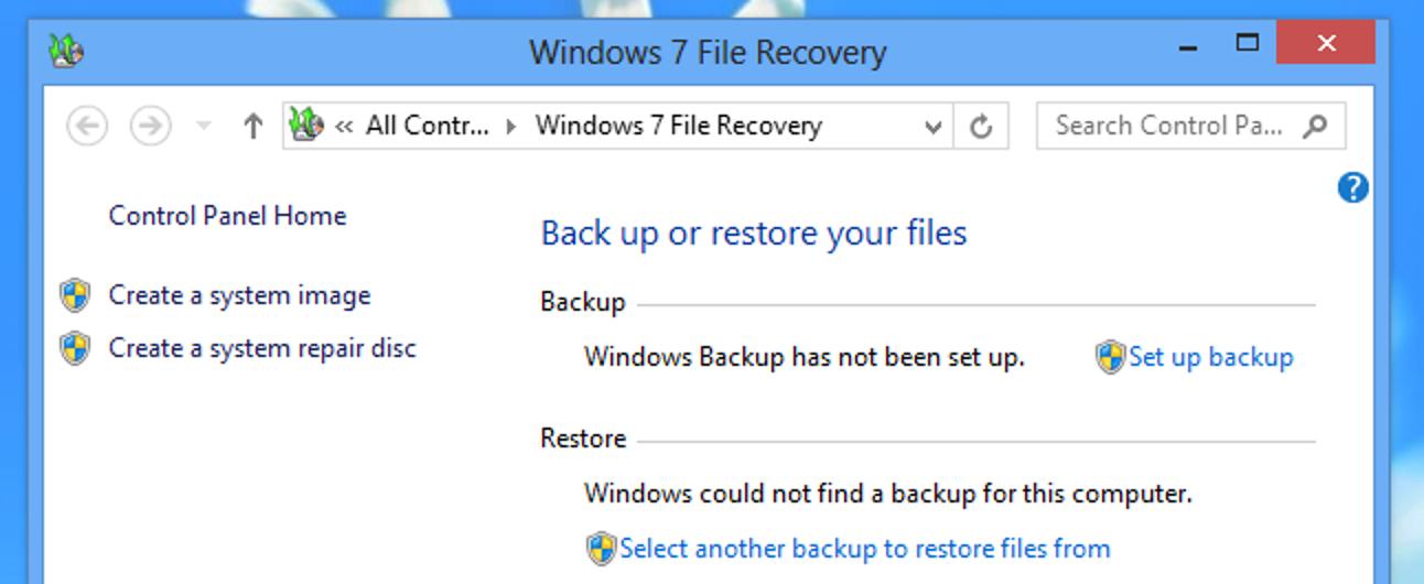 So verwenden Sie die Sicherungstools von Windows 7 in Windows 8