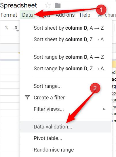 Klicken Sie auf Daten und dann auf Datenüberprüfung.