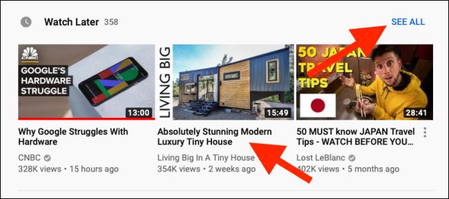 Klicken Sie auf ein Video, um es abzuspielen, oder klicken Sie auf die Schaltfläche Alle anzeigen, um die Wiedergabelistenansicht zu öffnen