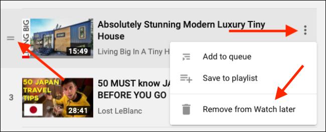 Klicken Sie auf den Lenker, um ihn neu anzuordnen, oder verwenden Sie die Menüleiste, um das Video aus der Wiedergabeliste zu entfernen