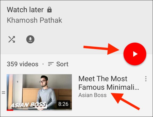 Tippen Sie auf ein Video von Später ansehen, um es abzuspielen