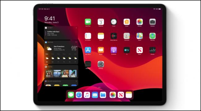 iPadOS-Startbildschirm im dunklen Modus mit Widgets
