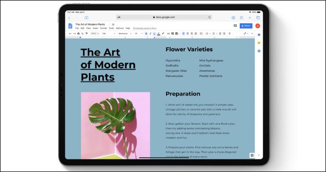 Google Text & Tabellen in Safari auf einem iPad