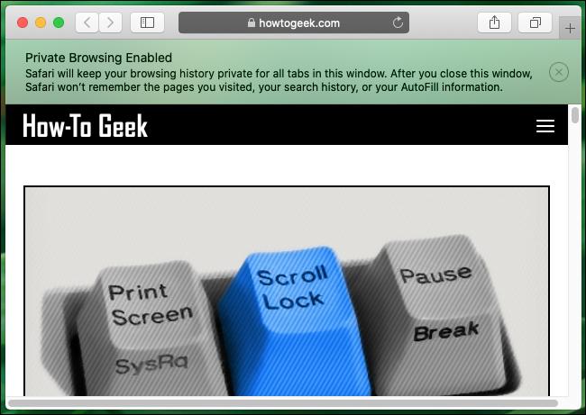 Ein privates Browserfenster in Safari